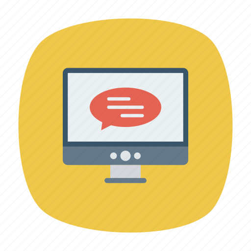 comment, display, message, screen icon