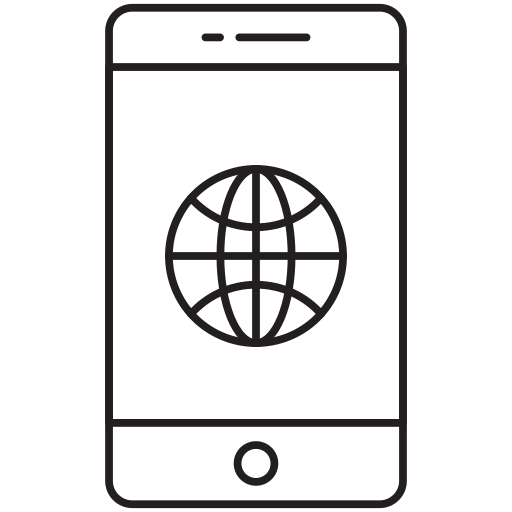 cell, globe, map, mobile, world icon