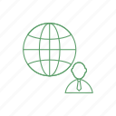 business people, globe, man, people icon icon