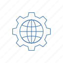 cog, cogwheel, gear, globe gear, setting icon icon