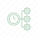 clock, configuration, gear, settings, time icon icon