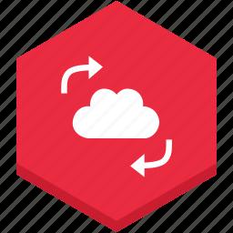 analytics, arrows, black, cloud, data, internet, symbol icon