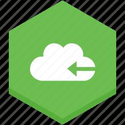 arrow, back, cloud, interface, internet, left, symbol icon