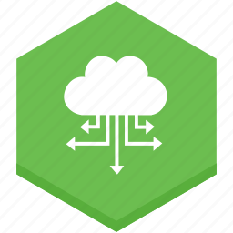 arrows, cloud, data, distributing, information, interface, spreading icon