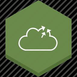 arrows, cloud, interface, internet, out, outline, symbol icon