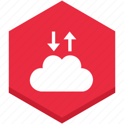 and, arrows, cloud, data, down, exchange, internet icon