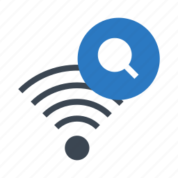 glass, magnifier, search, signal, wifi icon