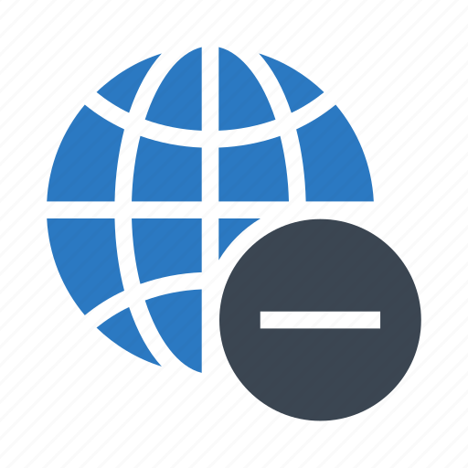 browser, global, minus, remove, world icon