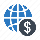 cash, dollar, globe, money, world
