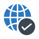 done, earth, global, tick, world icon
