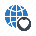 earth, favorite, global, globe, heart icon