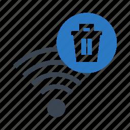 delete, rss, signal, trash, wifi icon