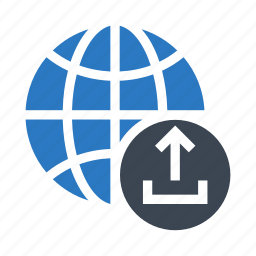 earth, global, globe, planet, upload icon