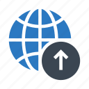 arrow, earth, globe, upload, world icon