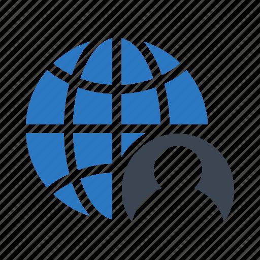 account, globe, profile, user, world icon