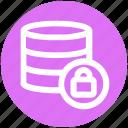 data, database, lock, network, secure, server, storage