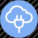 cable, cloud, cloud plug, network, plug, power cord, server