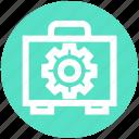 bag, business, cogwheel, engineer, gear, manufacturing, setting