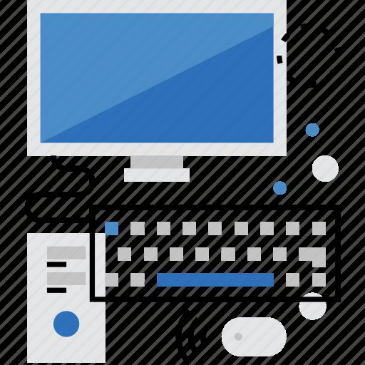 computer, desktop, monitor, office, pc, work, workstation icon