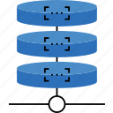 cluster, connection, data, database, network, server, storage icon