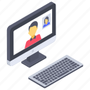 internet chat, online call, online chat, video calling, video chat icon