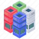 data racks, data storage, database, datacenter, network server rack icon