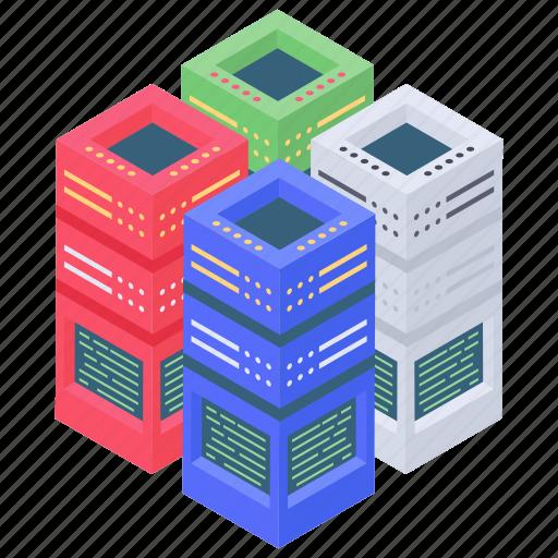 data racks, data storage, database, datacenter, network server rack icon