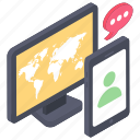 internet chatting, online chat, online communication, online conversation, online discussion icon
