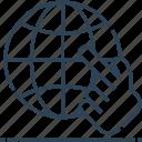 click, globe, hand, internet, networking, world icon