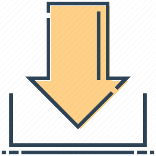 arrow, down, download, networking icon