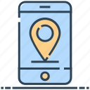 location, map pin, mobile, networking, phone, smartphone icon