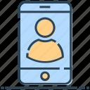 mobile, networking, phone, profile, smartphone, user icon