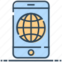 globe, mobile, networking, phone, smartphone, world icon