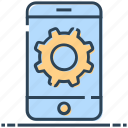 gear, mobile, networking, phone, settings, smartphone icon