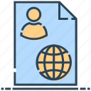 document, employee, networking, paper, user icon