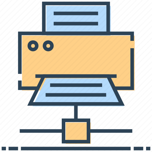 hosting, networking, paper, printer, server printer icon