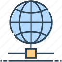 hosting, internet, networking, server globe, world icon