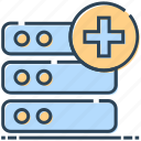 database, hosting, mainframe, networking, plus, server icon