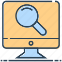 computer, lcd, magnifier, networking, search icon
