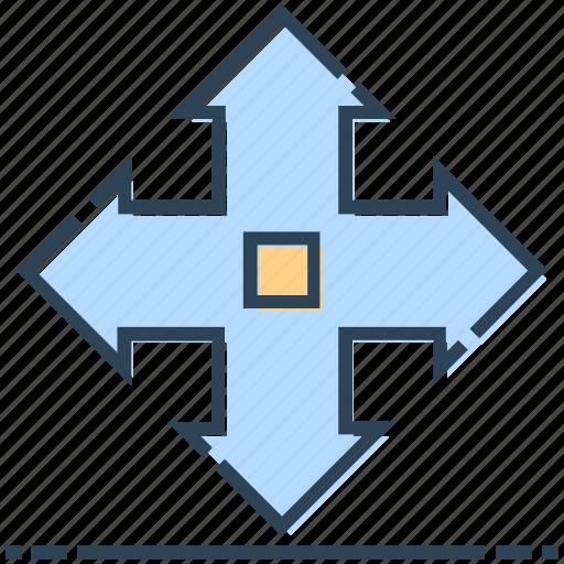 arrows, cursor, move, networking icon