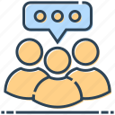 communication, networking, talking, team, users icon