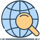 globe, internet, magnifier, networking, search, world icon