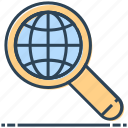 find, globe, magnifier, networking, search, world icon
