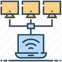 computers, connection, data, hosting, laptop, sharing icon