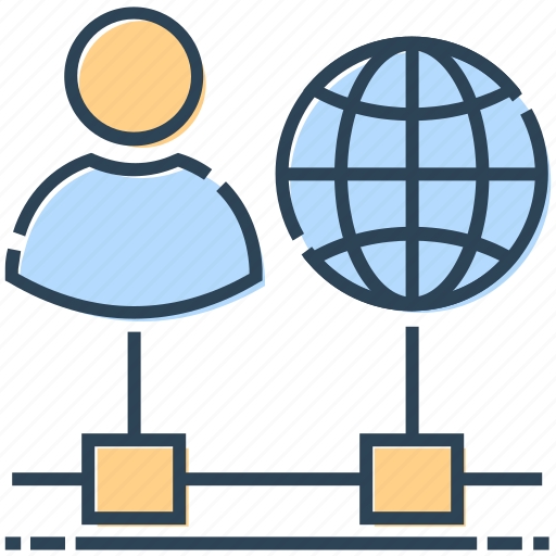 connection, internet, networking, user, world icon