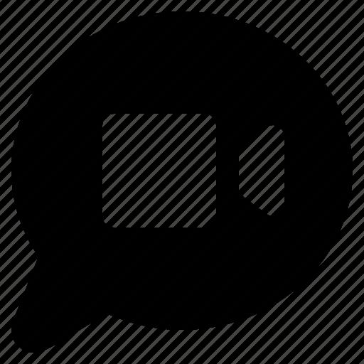 bubble, camera, chat, communication, message, talk, video icon