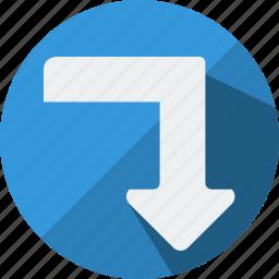 arrow, arrows, bottom, direction, down, turn, under icon