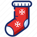 christmas, new year, ornament, sock, xmas icon