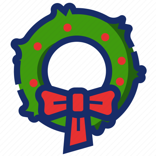 christmas, new year, ornament, wreath, xmas icon