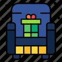 gift, box, sofa, present, surprise